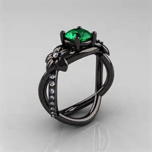 black and green engagement ring designer classic 18k black gold 1 0 ct emerald leaf and vine wedding ring engagement