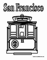 Cable San Francisco Coloring Pages Colormegood Transportation sketch template