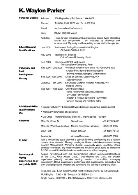 Airline Pilot Resume by Pilot Resume Template Resume Ideas