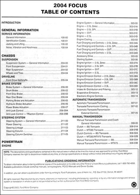 best auto repair manual 2004 ford focus engine control 2004 ford focus repair shop manual original