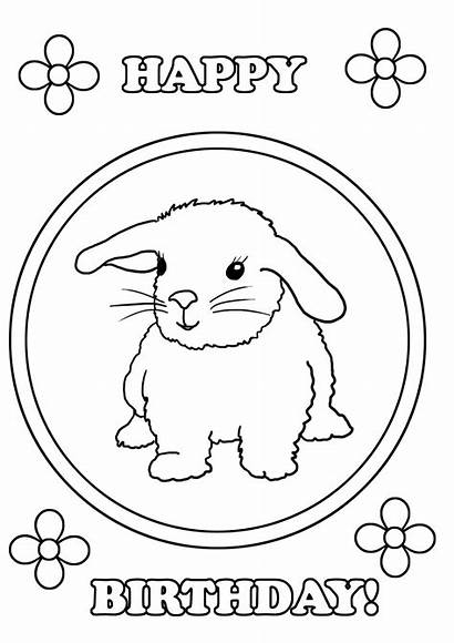 Coloring Birthday Happy Pages Bunny Anniversary Printable