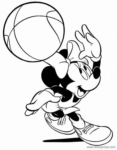 Minnie Coloring Mouse Pages Basketball Sports Playing