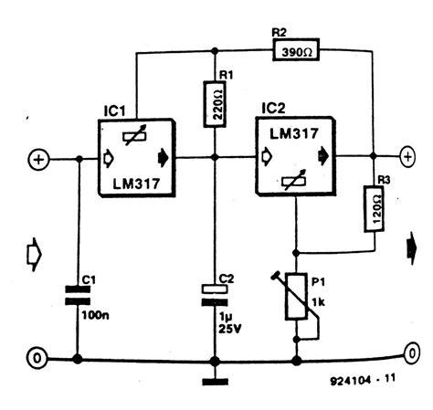 lm317 voltage regulator circuit diagram