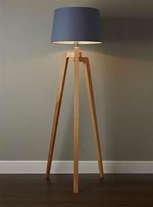 Coby wooden tripod floor lamp twmmh lighting for Tripod floor lamp with tartan shade