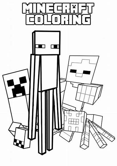 Minecraft Coloring Creeper Enderman Spider Colouring Villager