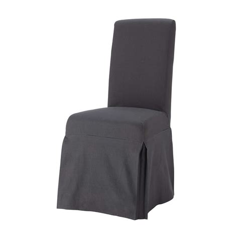 cotton chair cover in charcoal grey margaux maisons
