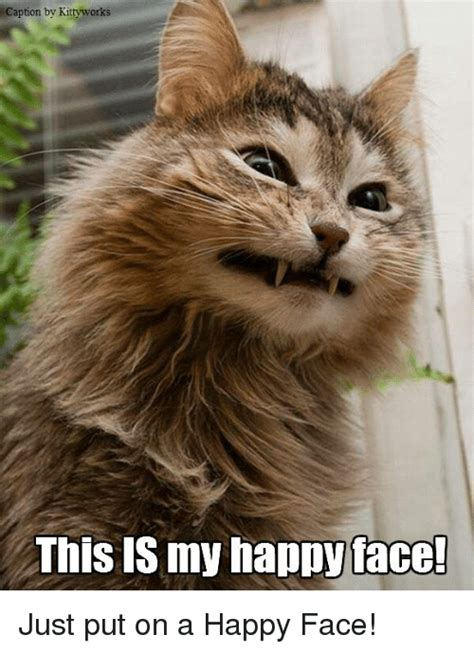 Meme Happy Face - caption by kittyworks this is my happy face just put on a happy face meme on me me
