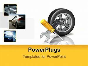Powerpoint Template  A Tire With A Screw Driver And Wrench