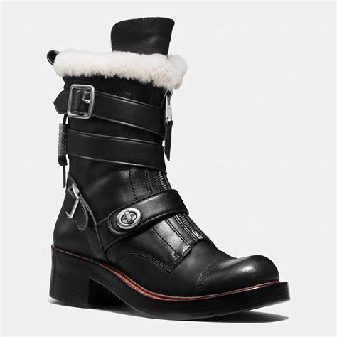 moto style boots coach zip moto boot in black lyst