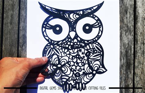 *svg file *dxf file *eps file *pdf printable template for hand cutting. Owl Paper Cut SVG / DXF / EPS File (26456) | SVGs | Design ...