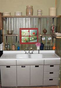 small rustic kitchen makeover repurposed life With kitchen colors with white cabinets with metal tile wall art