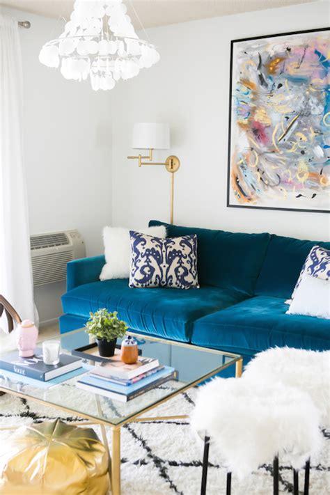 blue velvet sofa living room peacock blue velvet sofa contemporary living room