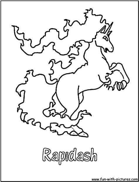 Kleurplaat Vuur Ponyta by Rapidash Coloring Page