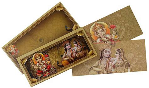 hindu wedding card  multiple god images wedding