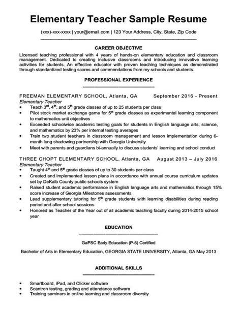 elementary teacher resume sample writing tips resume