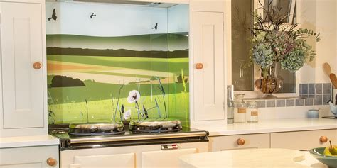 Long Tiles For Bathroom by British Countryside Printed Splashback Behind Aga Glartique