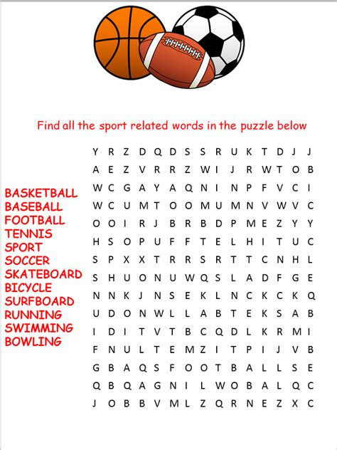 printable sports word search for activity shelter