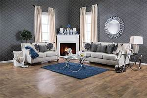 Cornelia beige fabric loveseat sm3070 lv made in usa for Living room furniture sets made in usa