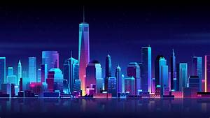 1920x1080 New York Buildings City Night Minimalism Laptop ...