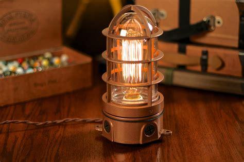 edison bulb desk l industrial explosion proof cage l table l desk l
