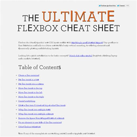 the ultimate flexbox sheet html5 css3 tips and tricks sheets and