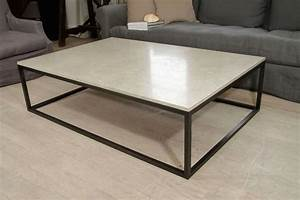 Seagrass stone top coffee table on blackened metal base at for Metal coffee table with stone top