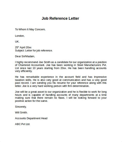 job reference letter 7 free sles exles formats