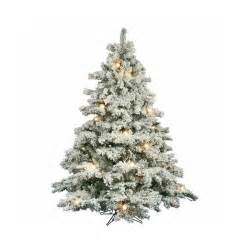 shop vickerman 6 5 ft pre lit alaskan pine flocked artificial christmas tree with white clear
