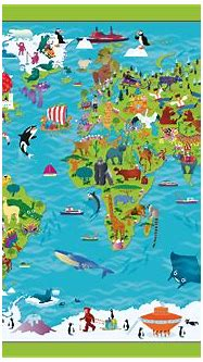 Children's Picture World Map - Large Framed canvas - £75 ...
