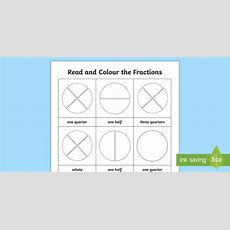 Fractions Year 1 Read And Colour Worksheet
