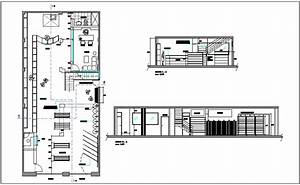 Interior, Design, Of, Commercial, Shop, Plan, With, Different, Axis, Section, View, Dwg, File