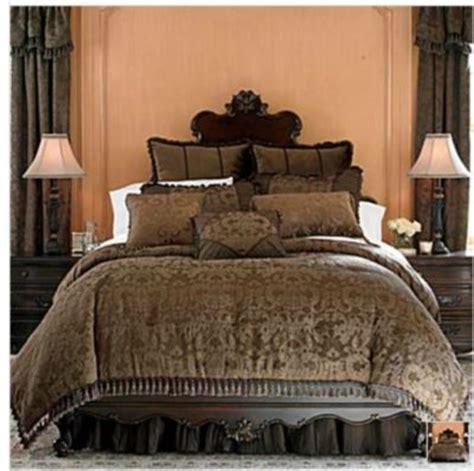 chris madden brown damask jacquard queen comforter set