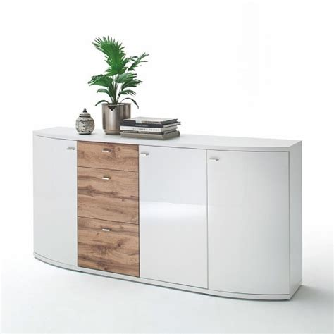 White Gloss And Oak Sideboard by Franzea Wooden Sideboard In White Gloss Fronts And Oak
