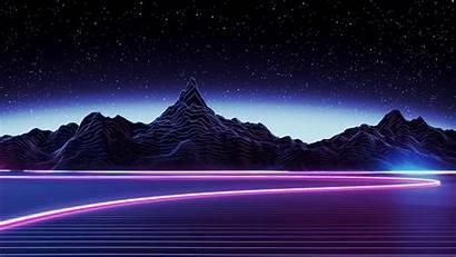 Aesthetic Wallpapers Desktop Mountain Neon 4k Landscape