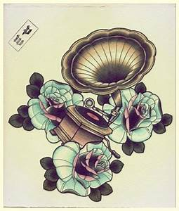 #grammerphone #gramophone #tattoo #rose #flowers | tattoo ...