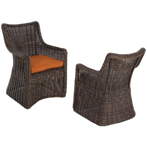 shop allen roth set of 2 wicker patio dining chairs with