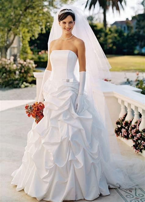 Davids Bridal Wedding Dress Satin Pick Up Ballgown With