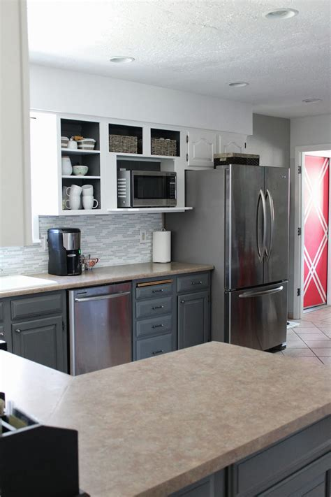 white and gray kitchen cabinets remodelaholic grey and white kitchen makeover 1737
