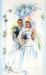 Vintage Bride and Groom Standing Under Wedding Bells ...