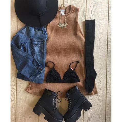 Dress divergence clothing grunge tshirt dress floppy hat denim jacket denim jacket grunge ...