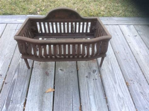 antique cast iron fireplace grate coal box basket wood log