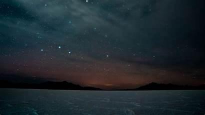 Night Dark Landscape Sky Starry Mountains 4k