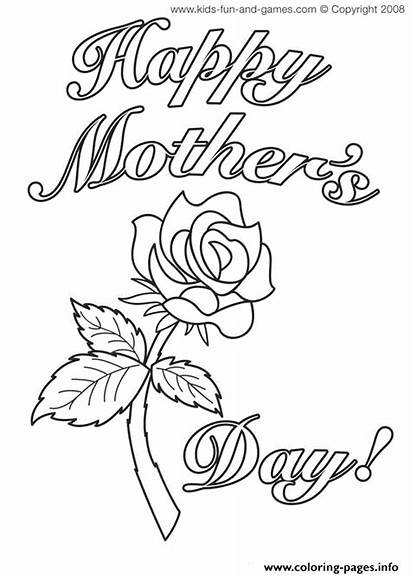 Coloring Flower Rose Cards Pages Mothers Printable
