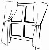 Window Coloring Printable Drawing Pages Curtains Curtain Template Getcoloringpages Sketch Clipartmag Objects sketch template