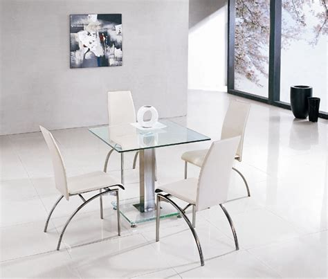 jet square glass dining table and 4 chairs furniture