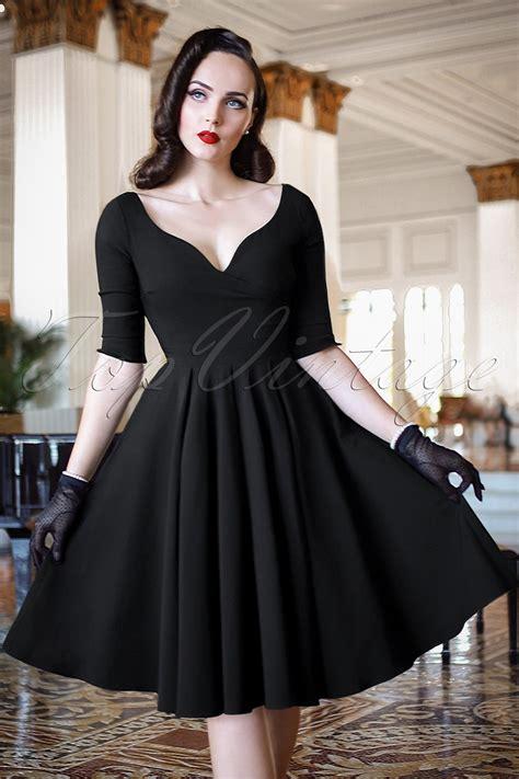 bombshell sleeved swing dress  black