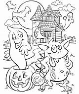 Haunted Coloring Halloween Pages Crayola Colouring Sheets Adults Printable Scary Getcoloringpages Hundertwasser Adult Printables Template Witch Disney Fall sketch template