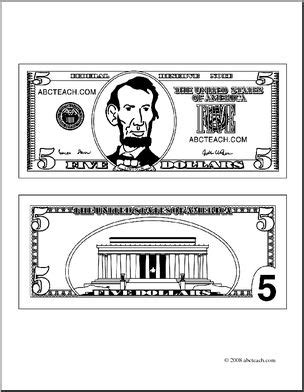 clip art  dollar bill outline coloring page