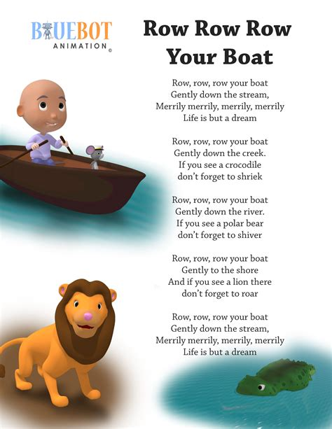Row Your Boat In English by Row Row Row Your Boat Nursery Rhyme Lyrics Free Printable