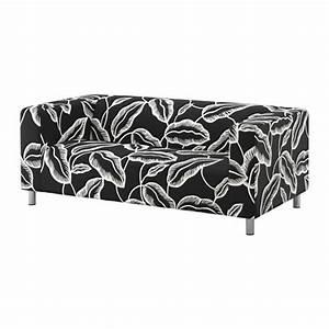 KLIPPAN Cover two-seat sofa Avsiktlig white/black - IKEA